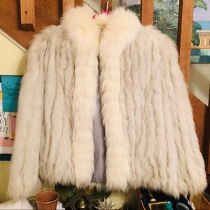 Vintage 100% Blue Fox and fox tail coat jacket MED